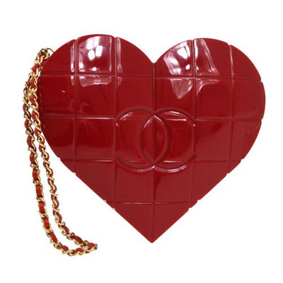 CHANEL Choco Bar Heart Shaped CC Clutch Party Bag Red