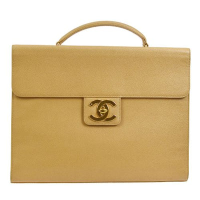 CHANEL CC Briefcase Business Hand Bag Beige