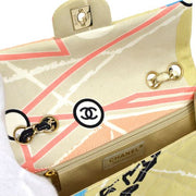 CHANEL Tower Beads Spangle Double Chain Shoulder Bag Beige