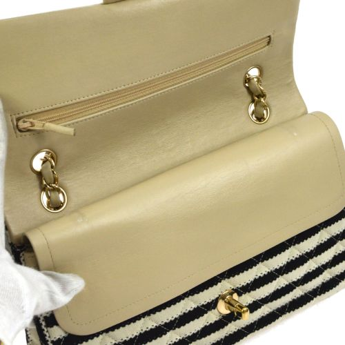 CHANEL STRIPED CLASSIC DOUBLE FLAP MEDIUM SHOULDER BAG