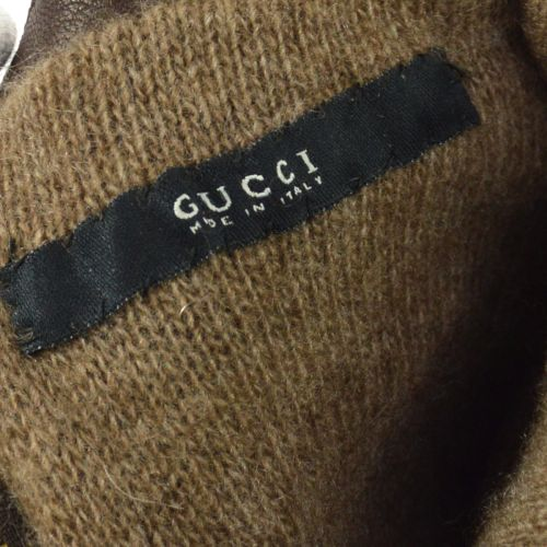 GUCCI GG Pattern Gloves Brown 7 1/2
