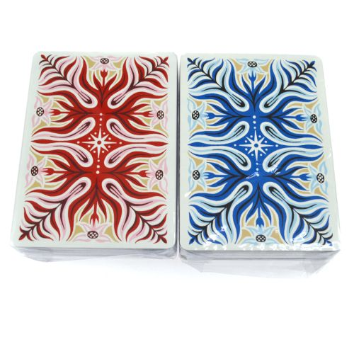 HERMES Trump Card Games 2 Set Red Blue