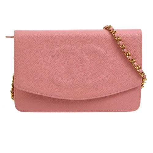 CHANEL Woc CC Logos Chain Shoulder Wallet Bag Pin