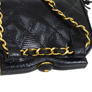 CHANEL Quilted Fringe Chain Waist Bum Bag Black