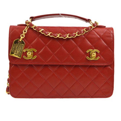 CHANEL Quilted CC Logos Chain 2way Hand Bag Red
