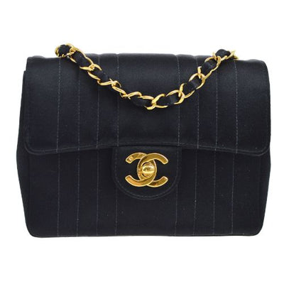CHANEL Mademoiselle Classic Flap Mini Square Shoulder Bag Black Satin