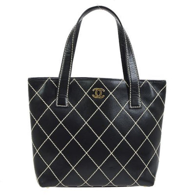 CHANEL Wild Stitch CC Logos Hand Tote Bag Black