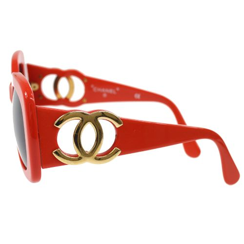CHANEL CC Logos Sunglasses Eye Wear Red