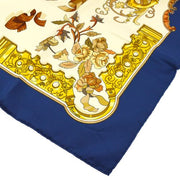 HERMES CARRE 90 COPEAUX CATY LATHAM Scarf Navy