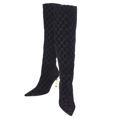 GUCCI by Tom Ford GG Pattern Velvet Long Boots