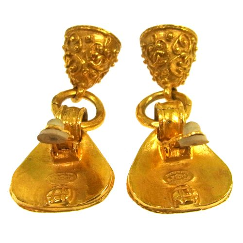 CHANEL CC Logos Bell Motif Earrings Clip-On Gold 94A