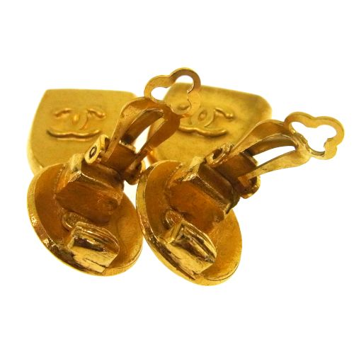 CHANEL CC Logos Earrings Clip-On Gold 95A