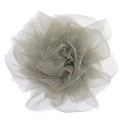 CHANEL Flower Brooch Pin Corsage Gray