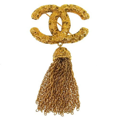 CHANEL CC Logos Fringe Brooch Pin Corsage Gold
