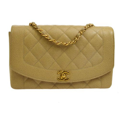 CHANEL Diana Medium Single Chain Shoulder Bag Beige