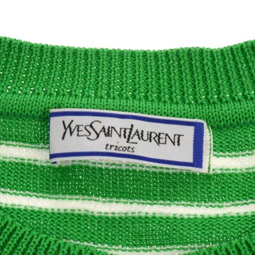 Yves Saint Laurent Border Short Sleeve Tops Green