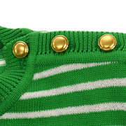 Yves Saint Laurent Striped Short Sleeve Tops Green