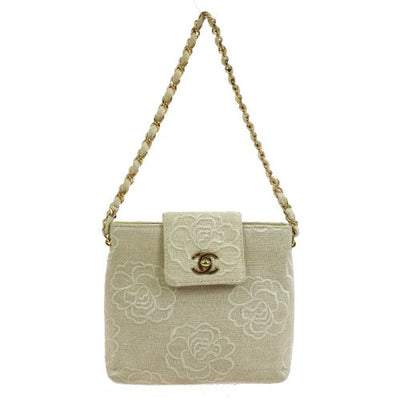 CHANEL CC Logos Camellia Single Chain Hand Bag Ivory