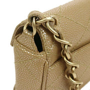 CHANEL Quilted Chain Hand Bag Beige