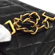 CHANEL Quilted Logos Chain Backpack Bag Black