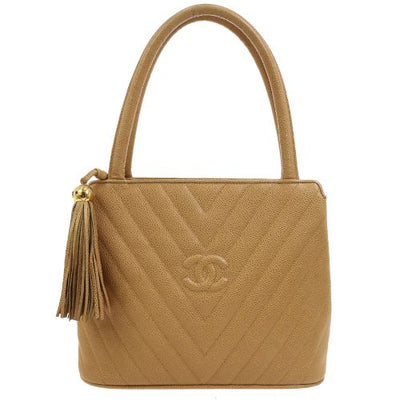 CHANEL V Stitch Fringe Hand Bag Beige
