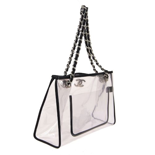 CHANEL CC Logos Double Chain Shoulder Bag Clear