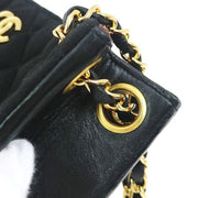 CHANEL Quilted Double Chain Shoulder Tote Bag Black