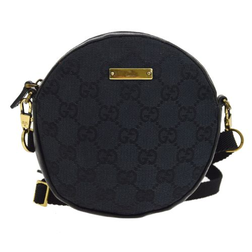 GUCCI GG Pattern Cross Body Round Shoulder Bag Black
