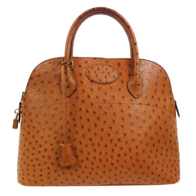HERMES BOLIDE 35 2way Hand Bag Brown Ostrich