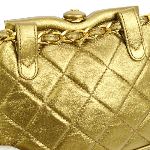 CHANEL Quilted Fringe Chain Waist Bum Bag Gold