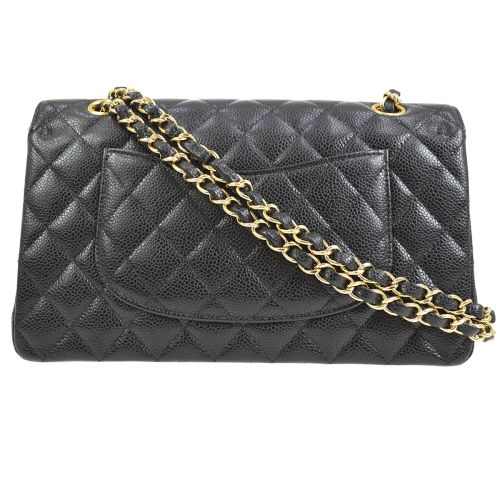 CHANEL Classic Double Flap Medium Shoulder Bag Black Caviar