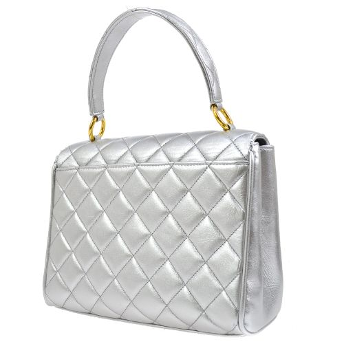 CHANEL Quilted CC Logos Hand Bag Silver