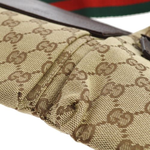 GUCCI Shelly Line GG Bum Bag Waist Pouch Brown