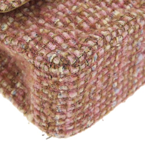 CHANEL Quilted Classic Double Flap Medium Shoulder Bag Pink Tweed