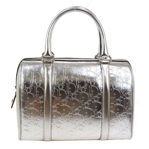 Christian Dior Trotter Boston Hand Bag Silver