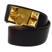 HERMES Collier De Chien Medoru Belt Navy Box Calf
