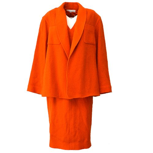 CHANEL CC Logos Button Setup Suit Jacket Dress Orange