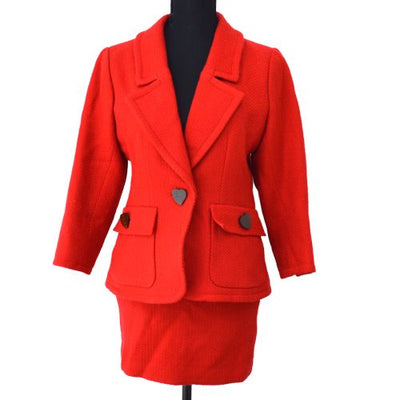 YVES SAINT LAURENT Setup Suit Jacket Skirt Red