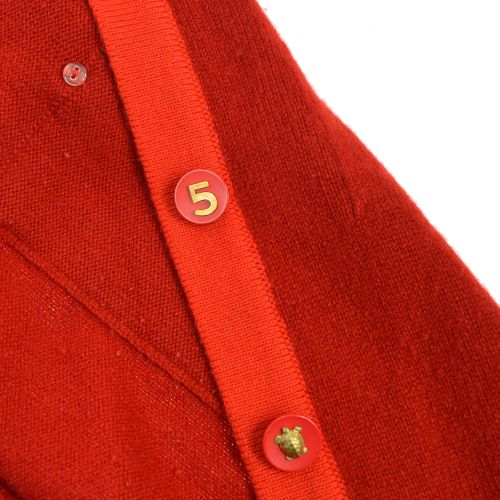 CHANEL CC Logos Button Long Sleeve Cardigan Red