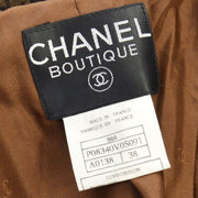 CHANEL CC Long Sleeve Tweed Jacket Coat Brown 96A