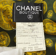 CHANEL Quilted CC Long Sleeve Buttonless Jacket Coat Green