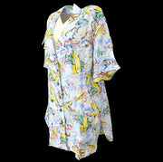 CHANEL Airplane Pattern Shirt Blouse Blue #42 from 1994