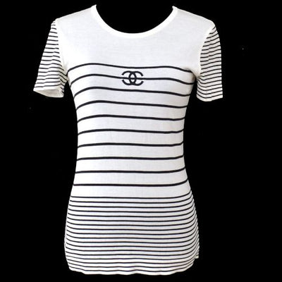 CHANEL CC Logos Border Short Sleeve Tops White