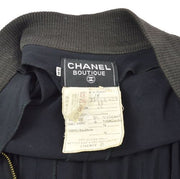 CHANEL CC Logos Zip Up Long Sleeve One Piece Black #38
