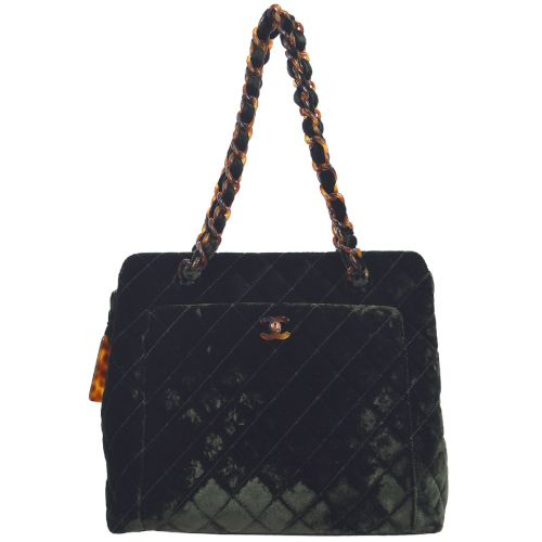 CHANEL Quilted CC Logos Shoulder Tote Bag Dark Green