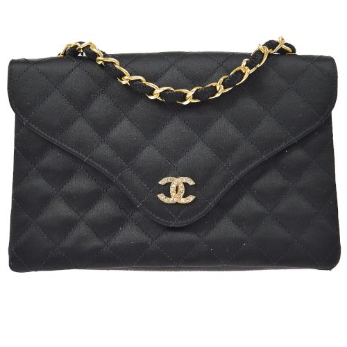 CHANEL Quilted CC Single Chain Shoulder Bag Stain Black