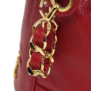 CHANEL CC Drawstring Chain Shoulder Bag Red