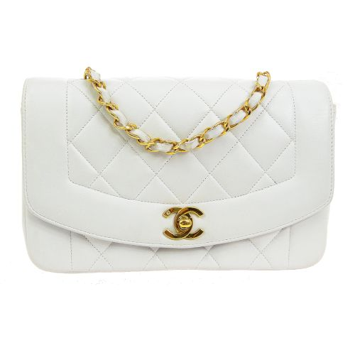 CHANEL Diana Small Single Chain Shoulder Bag White