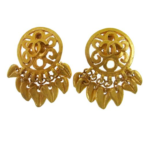 CHANEL CC Fringe Logos Earrings 95P