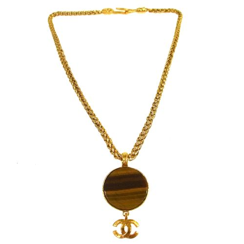CHANEL CC Logos Gold Chain Pendant Necklace 95A